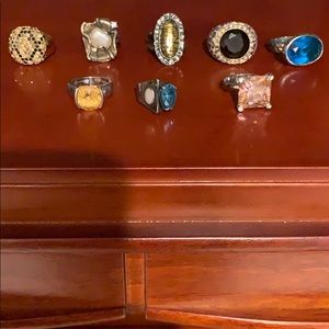 Lot of 8 Costume Jewelry/Sterling Rings